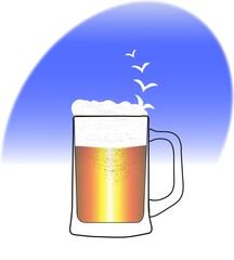 mug of beer with foam and birds on blue backgroundŒ