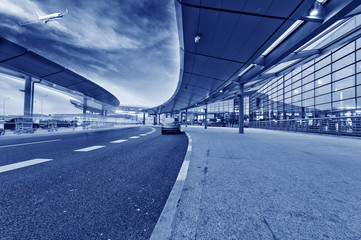 the scene of airport building in shanghai china