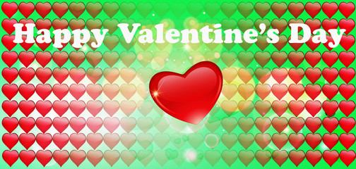 Red valentines day green background with hearts