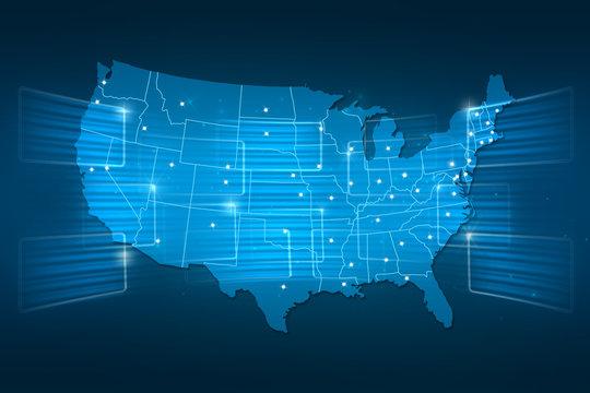 USA Map World map News Communication blue