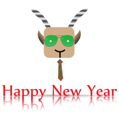 Goat with a tie, Happy New Year white background