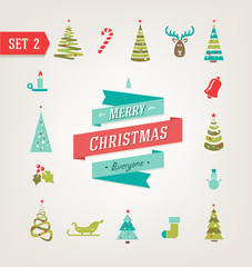 Christmas retro icons, logo, elements and illustrations eps 10