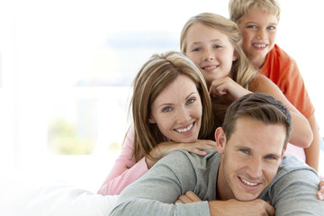 Portrait of a happy young family