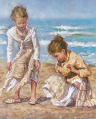 olio su tela di giovani fanciulle tra la sabbia