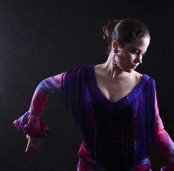 Woman Dancing Flamenco in Red Violet Attire