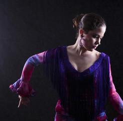 Woman Dancing Flamenco in Red Violet Attire