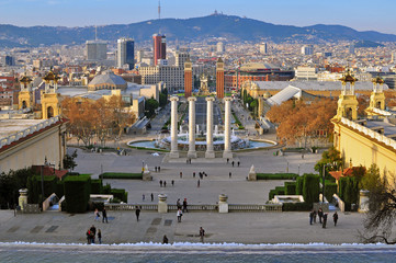 Square of Spain, Barcelona skyline