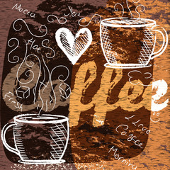 Grungy coffee background for design