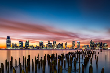 Fototapete - Jersey City skyline at sunset
