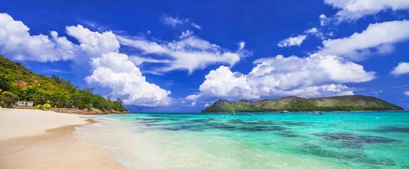 scenic panorama of the beautiful beache in Seychelles islands