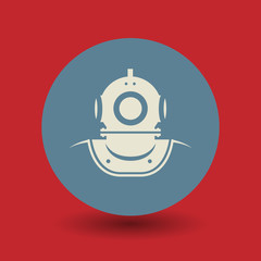 Old diving helmet symbol, vector