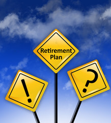 Retirement plan or pension funds concept on road signs