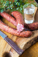 homemade sausage on cutting board