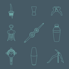vector outline barman equipment icons set tools