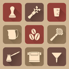 vector silhouette flat coffee barista equipment icons set tools