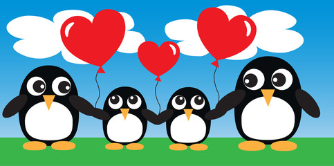 a sweet penguin family with balloons