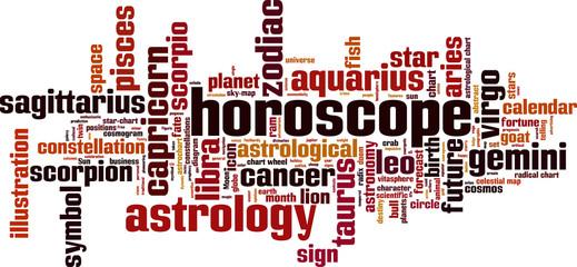 Horoscope word cloud concept. Vector illustration