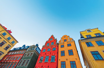 Colorful facades at Stortorget place in Gamla stan