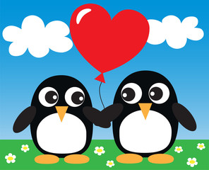 two sweet penguins in love