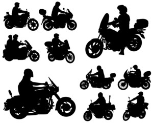 Wall Mural - motorcyclists silhouettes collection - vector