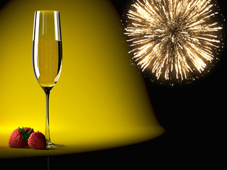 Champagne glasses with fireworks on background