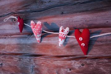 Valentine's Day heart wood background