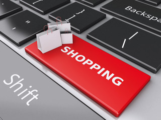 3d Shopping bag on computer keyboard. Online shopping concept.