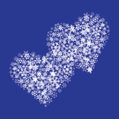 white snow and two hearts