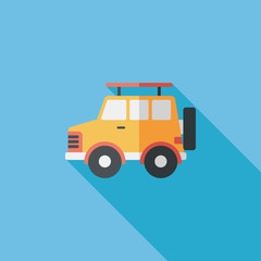 Transportation Sports Utility Vehicle flat icon with long shadow