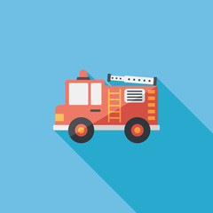 Transportation Fire truck flat icon with long shadow,eps10