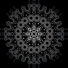 Art White Seamless Symmetric Pattern On Black Background Vector
