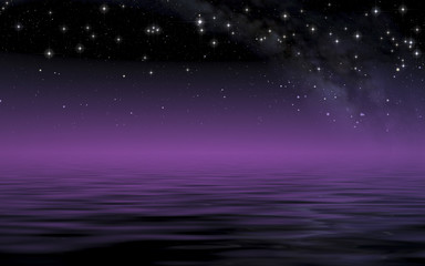 Deurstickers Nacht Calm sea in starry night after sunset