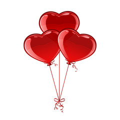 Three balloon hearts
