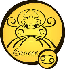 stylized zodiac signs in a yellow circle - cancer