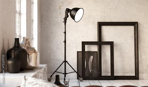 picture frames and lamp stehleuchte vor wei er wand. Black Bedroom Furniture Sets. Home Design Ideas