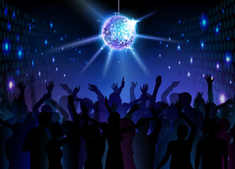 Disco ball background. Dancing people