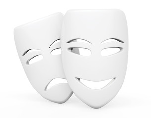 Tragicomic Theater Masks. Sad and Smile masks