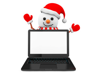 Snowman with laptop