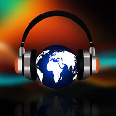 Earth globe with headphones