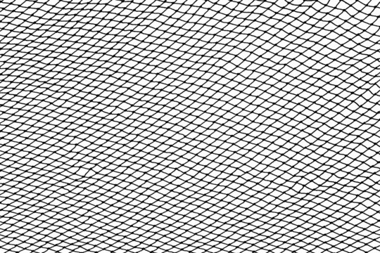 Black fishing net silhouette isolated on white