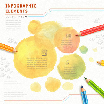 watercolor style education infographic