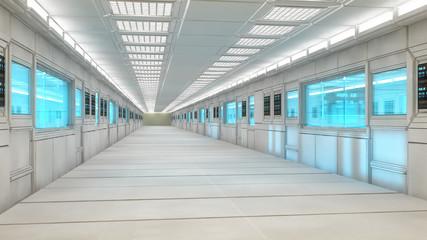 Futuristic architecture intererior corridor