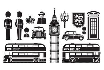 England, London, UK set of icons