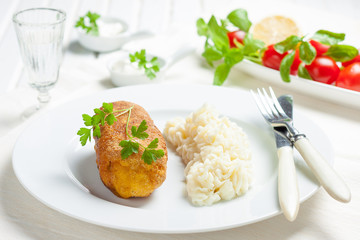 chicken Kiev with mashed potatoes