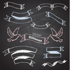 Vector collection of chalkboard style ribbons