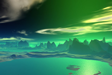3D rendered fantasy alien planet. Rocks and sea