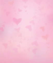 Vector pink  hearts shapes  background, blurred effect.