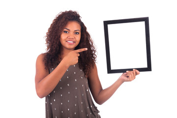 Young African Woman with a frame around her face isolated over a