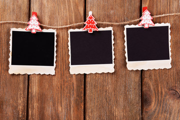 Blank photo frames and Christmas decor