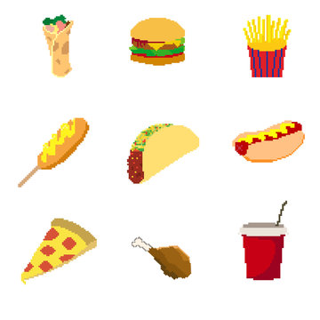 Vector Pixel Art fast food collection